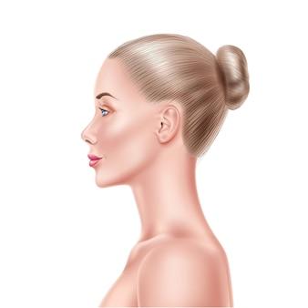 Vue de côté de visage de modèle de femme. portrait détaillé des produits de cosmétologie, shampooing, mascara