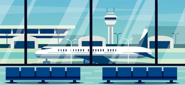 Vue depuis la fenêtre du terminal de l'aéroport sur la piste. illustration de l'aéroport.