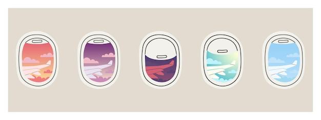 Vue depuis le hublot ensemble de hublots d'avion avec rideaux ouverts et fermés vue aile d'avion