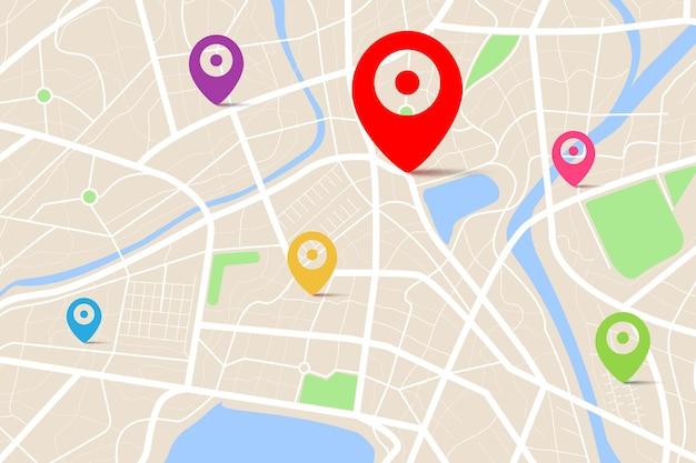 Vue de dessus 3d d'une carte avec le point d'emplacement de destination, vue aérienne de dessus propre de la carte de la ville pendant la journée avec rue et rivière, carte urbaine vierge, concept de navigateur de carte gps