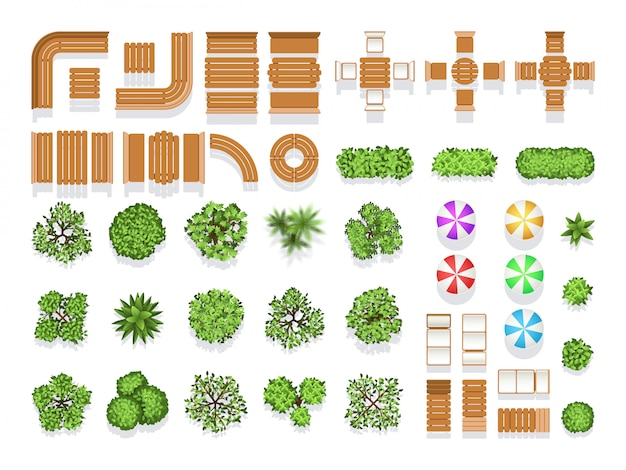 Vue de dessus aménagement paysager architecture ville parc plan symboles vectoriels, des bancs en bois et des arbres