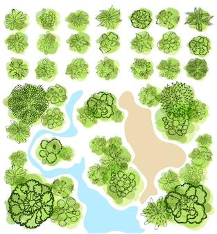 Vue de dessus d'arbres pour l'illustration vectorielle de paysage.