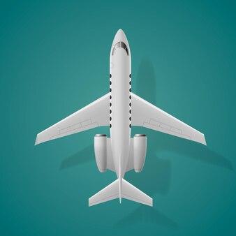 Vue de dessus d'avion isolé sur illustration vectorielle fond bleu