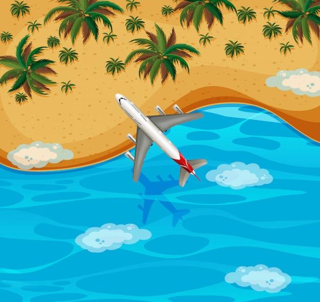 Vue de dessus de l'avion survolant la plage