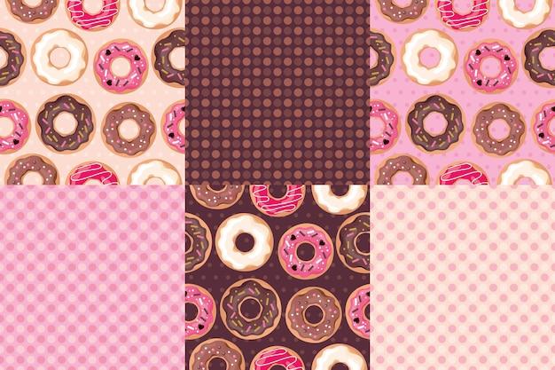 Vue de dessus de beignets. ensemble de modèles sans couture. couleurs rose, crème, chocolat.