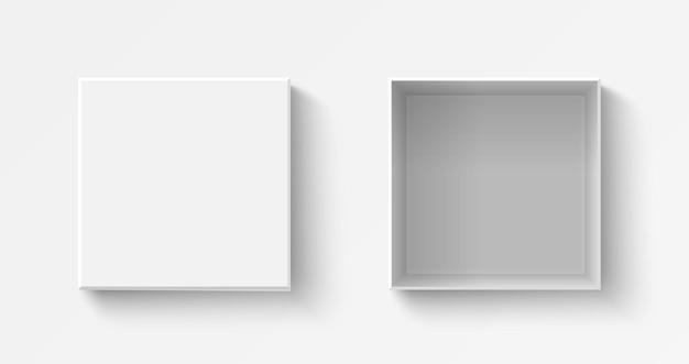 Vue de dessus de boîte carrée réaliste blanche avec des boîtes en plastique ouvertes et fermées