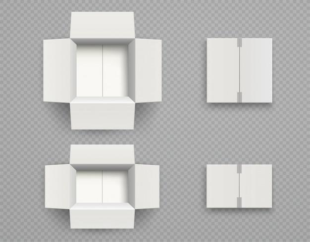 Vue de dessus de boîte en carton blanc.