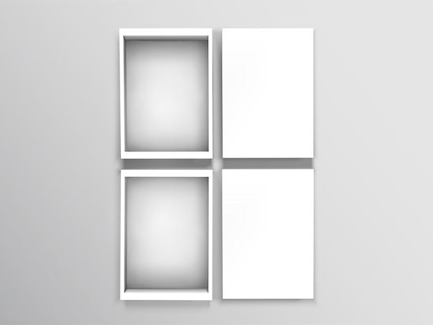 Vue de dessus des boîtes ouvertes vierges isolés sur fond gris en illustration 3d