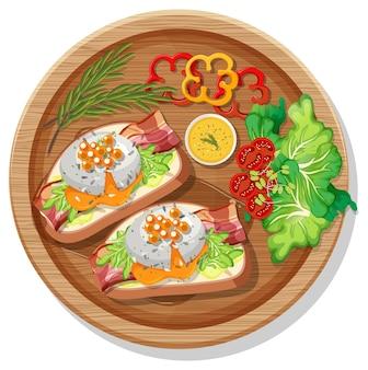 Vue de dessus de la bruschetta avec divers légumes sur une assiette ronde isolée