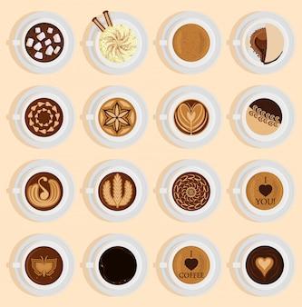 Vue de dessus de café vectoriel boisson réaliste recette de café différente comme le cappuccino, le chocolat