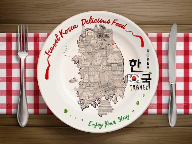 Vue de dessus de la carte de voyage créative de la corée du sud sur de la vaisselle réaliste - corée en mots coréens sur le côté droit