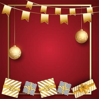 Vue de dessus des coffrets cadeaux avec suspension boules dorées et drapeaux de fête décorés en rouge