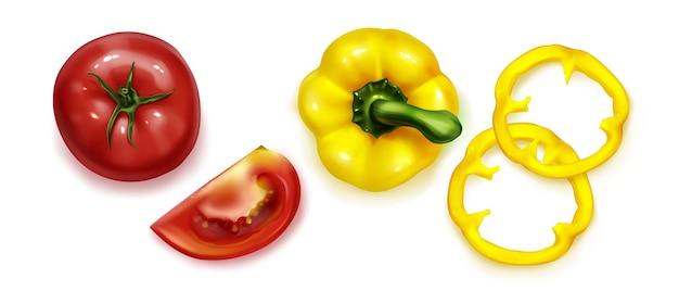 Vue de dessus sur la collection de légumes réalistes