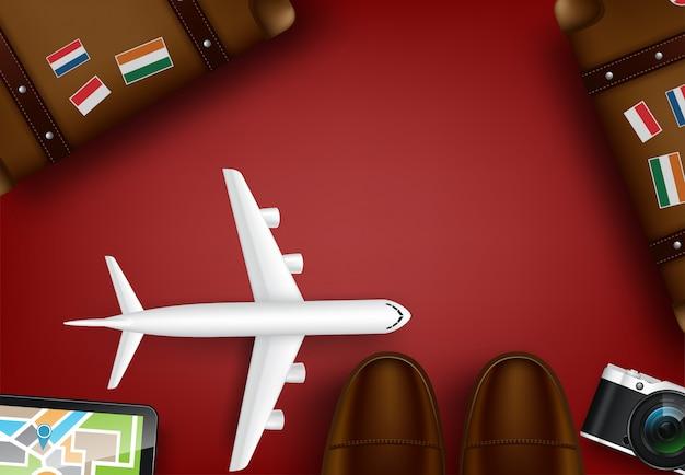 Vue de dessus sur le concept de voyage et de tourisme