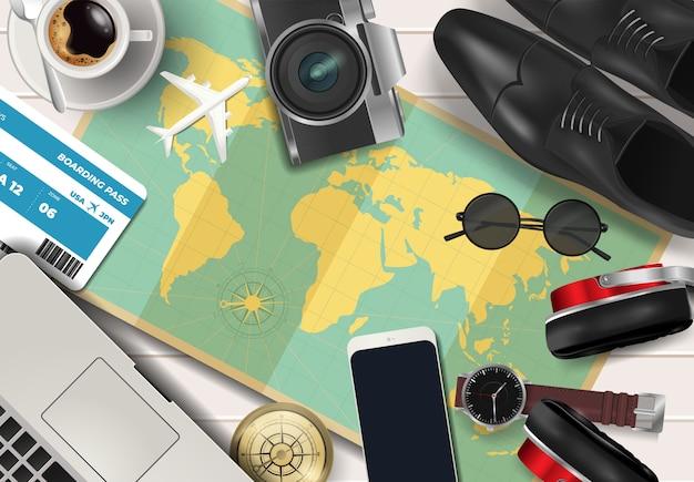 Vue de dessus sur le concept de voyage et de vacances sur fond en bois