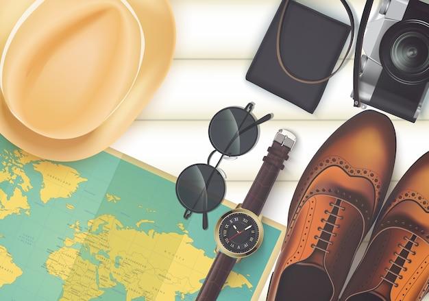 Vue de dessus sur le concept de voyage et de vacances