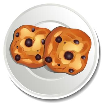 Vue de dessus des cookies aux pépites de chocolat en autocollant de plaque sur fond blanc