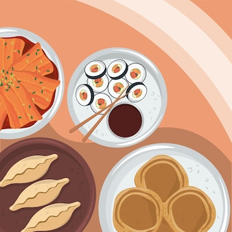 Vue de dessus de la cuisine coréenne