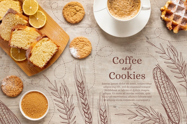 Vue de dessus de délicieuses pâtisseries avec une tasse de café