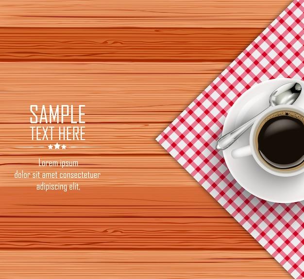 Vue de dessus du café noir réaliste dans la tasse blanche