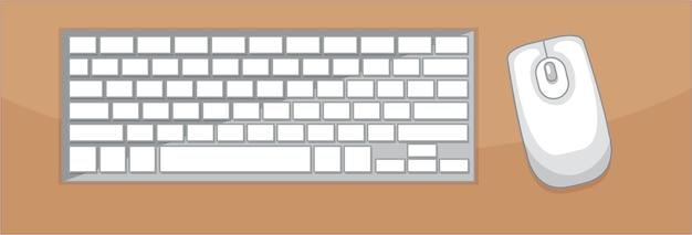 Vue de dessus du clavier et de la souris sur la table