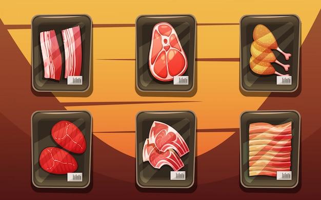 Vue de dessus du comptoir de viande avec des plateaux de cuisses de poulet