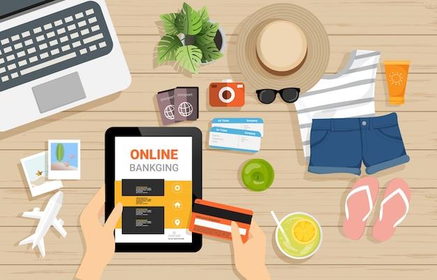 Vue de dessus du concept de paiement bancaire en ligne internet sur bois