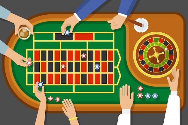Vue de dessus du jeu de roulette