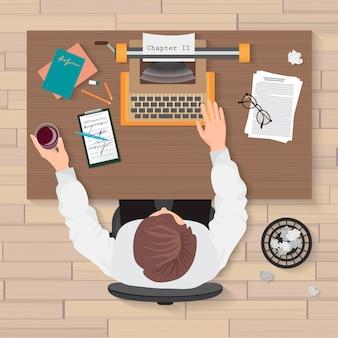 Vue de dessus du lieu de travail de l'auteur