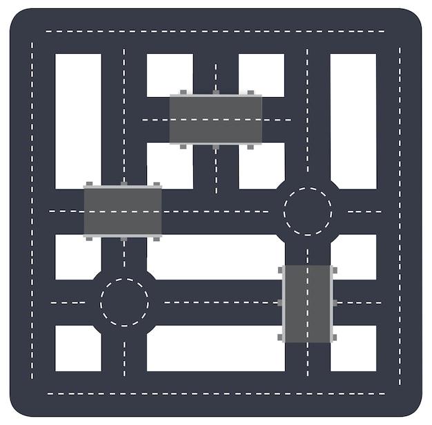 La vue de dessus du modèle de conception de rue de bloc de ville est une carte