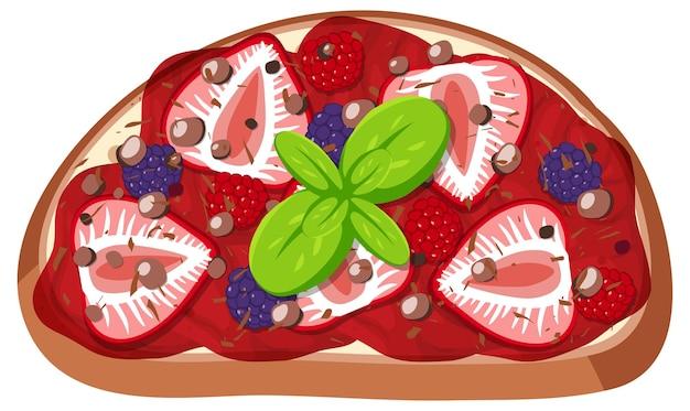 Vue de dessus du pain avec garniture aux fruits