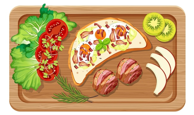 Vue de dessus du petit-déjeuner dans une planche à découper isolée