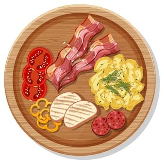 Vue de dessus du petit-déjeuner dans un plat en style cartoon isolé