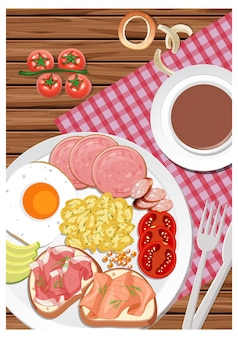 Vue de dessus du petit-déjeuner dans un plat avec une tasse de café sur la table