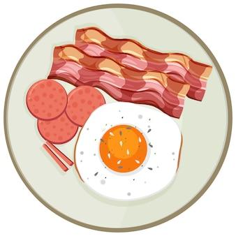 Vue de dessus du petit-déjeuner sur un plat isolé