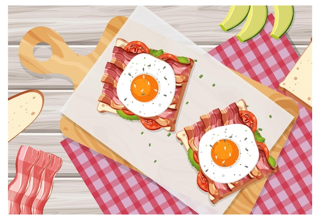 Vue de dessus du plat de petit-déjeuner en style cartoon sur la table