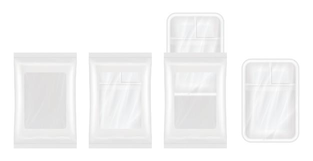 Vue de dessus du polystyrène blanc et de la maquette d'emballage en plastique