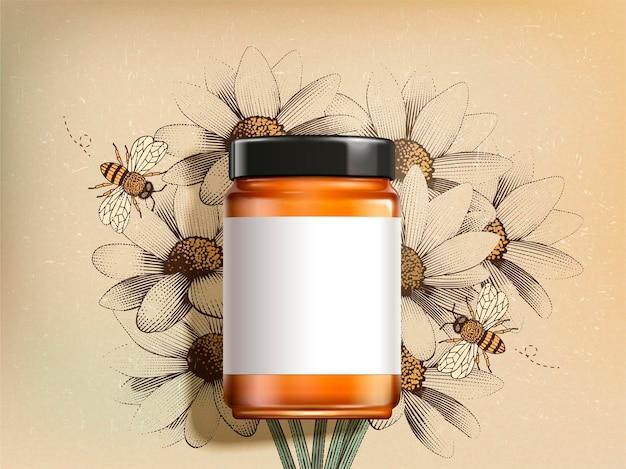 Vue de dessus du produit de miel de fleurs sauvages avec étiquette vierge en illustration 3d sur des fleurs sauvages gravées rétro