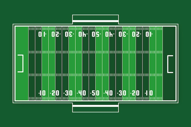 Vue de dessus du terrain vert de football américain