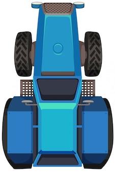 Vue de dessus du tracteur bleu