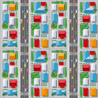 La vue de dessus du trafic, des transports et des transports est une carte des rues de l'îlot de la ville avec l'infrastructure de la ville, les routes, les arbres, les parcs et les jardins.