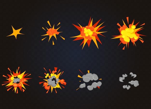 Vue de dessus de l'effet d'explosion flash, boom de la bombe. cadres de jeu d'animation d'explosion de dessin animé.