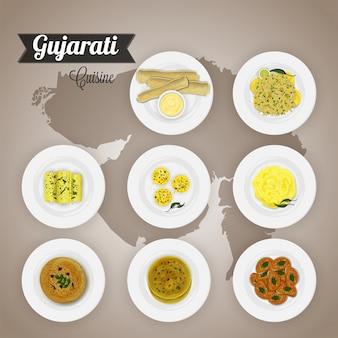 Vue de dessus de l'ensemble de la cuisine gujarati.