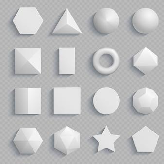 Vue de dessus des formes de base mathématiques réalistes isolées sur transparent