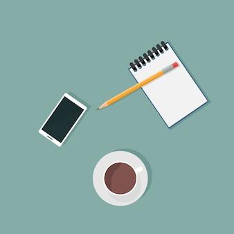 Vue de dessus des fournitures de bureau et téléphone portable
