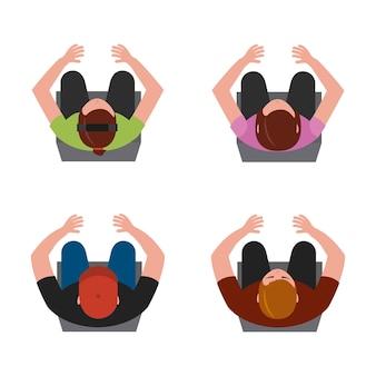Vue de dessus les gens assis sur une chaise illustration vectorielle