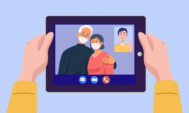 Vue de dessus d'un homme ayant une vidéoconférence sur tablette avec ses parents à la maison. vecteur