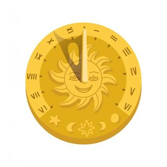 Vue de dessus de l'icône du cadran solaire avec une ombre. concept de cadran avec chiffres romains, silhouette de minuterie, mesure, astrologie, visage de caractère soleil. illustration tendance de style plat