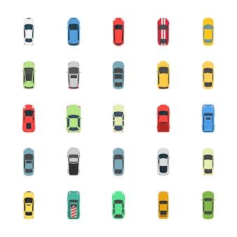 Vue de dessus des icônes plates de voitures colorées