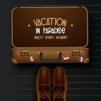 Vue de dessus sur l'illustration de concept de voyage et tourisme